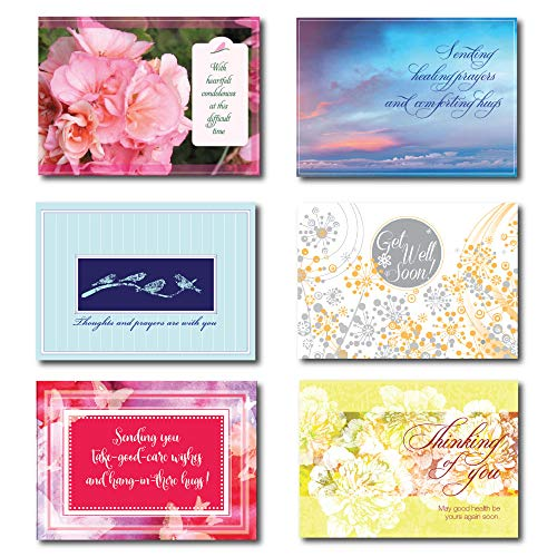 Get Well and Sympathy Greeting Cards in a Box Set Assortment. 30 Cards; 5 Each of 6 Contemporary Designs, Each with a Different Verse. Suitable for Personal or Business Use. ()
