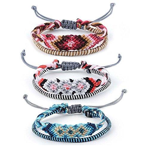 Braided Woven Friendship Bracelet for Women String Hemp Cord Adjustable Thread Handmade Bracelets