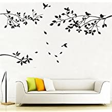 Elegant Tree and Birds Wall Decal Art Branch Wall Sticker Living Room Decoration (Black, XL)