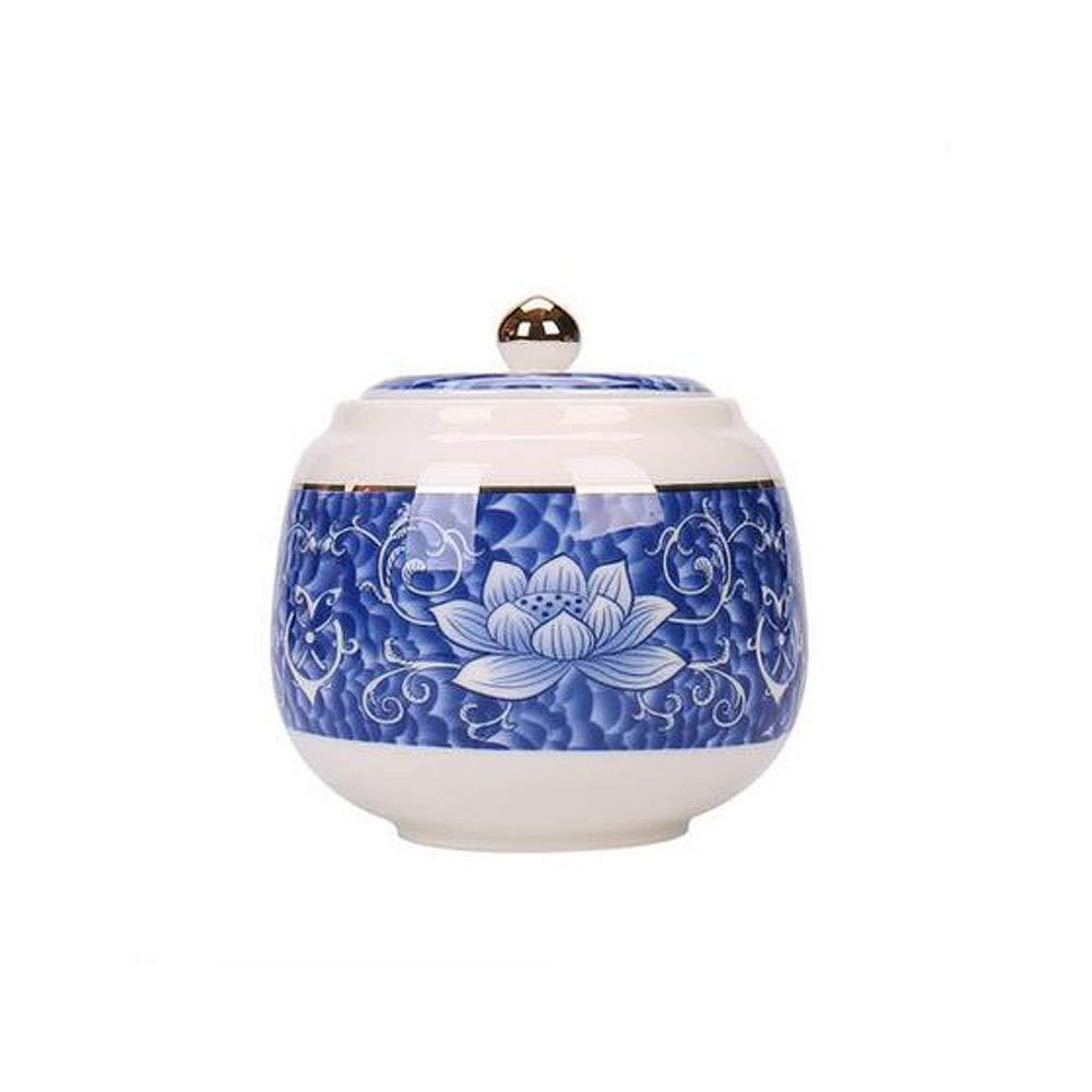 10.111cm Hongyushanghang Pet Urn, Close Relatives and Dear Pet Pet Cremation Urns Spend Souvenir Elite, Multi Size Optional 4 Inches in Diameter Optional (Ceramics Kiln, bluee Lotus) Bright