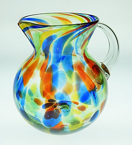 Mexican Glass Margarita or Juice Pitcher, Confetti Swirl Design Bola, small