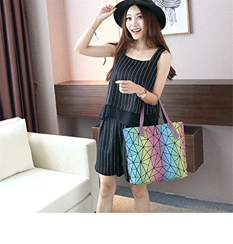 Ladies Tote Summer Bags 4 Handbags Flada Plaid Split Silver Joint Geometric Colorful Hologram ZfdnUq
