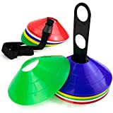 Set of 50 Flexible Disc Sport Cones with Storage Stand and Carrying Strap for Indoor/Outdoor Agility Training, in 5 Assorted Colors by Crown Sporting Goods