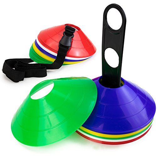 Tall Cone Flat (Set of 50 Flexible Disc Sport Cones with Storage Stand and Carrying Strap for Indoor/Outdoor Agility Training, in 5 Assorted Colors by Crown Sporting Goods)