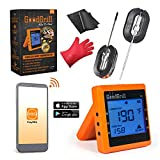 GoodGrill Wireless Meat Thermometer System – Bluetooth Meat Thermometers with Large LCD Screen & 330' Range – Temp Monitoring Smartphone App & 2 Accurate Stainless Steel Probes for Grill, Smoker, More