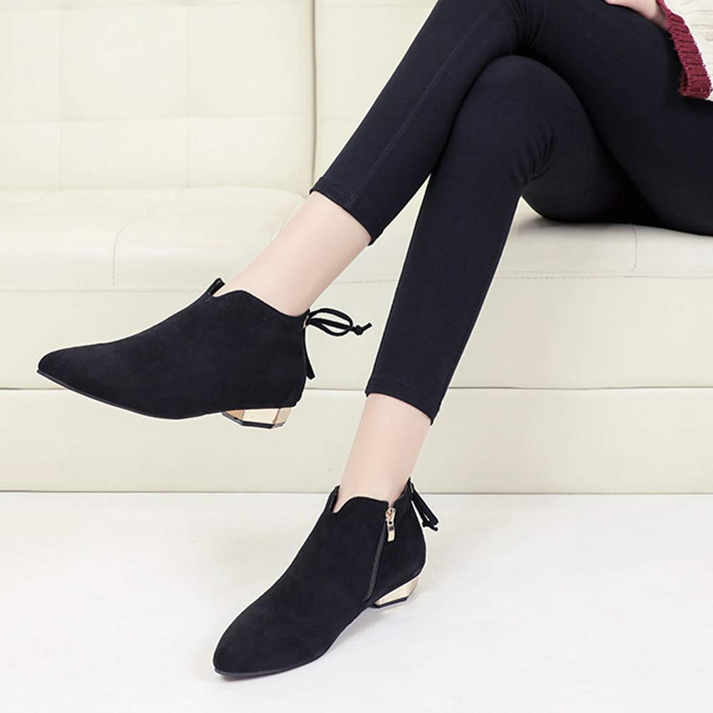 Hattfart Womens Suede Booties Comfortable Chunky Heel Pointed Toe Stylish Ankle Bow Single Boots