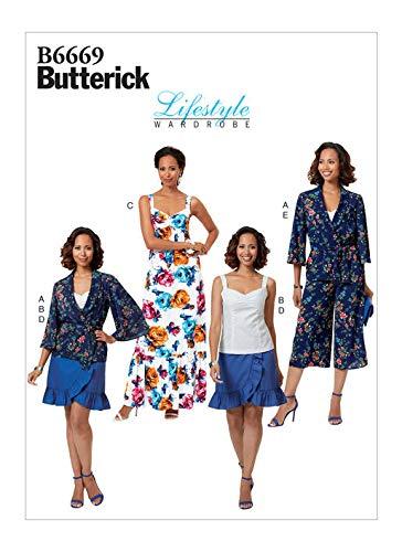 Sash Jacket - Butterick B6669 / R10165 Lifestyle Wardrobe Jacket, Skirt, Top, Dress,Pants Sizes: 14-22 Sewing Pattern