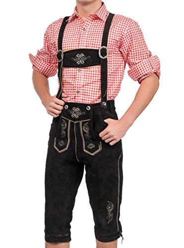 Herren Trachten Lederhose Kniebundhose inklusive Träger in verschiedenen Farben, Trachtenlederhose (54, Schwarz)