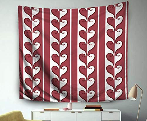 (Asdecmoly Wall Hangings Tapestry, Huge Tapestry for Living Room and Bedroom 80 Lx60 W Inches Damask Pattern Background Red Love Spiral Curve Cross Heart Line Art Printing Inhouse)