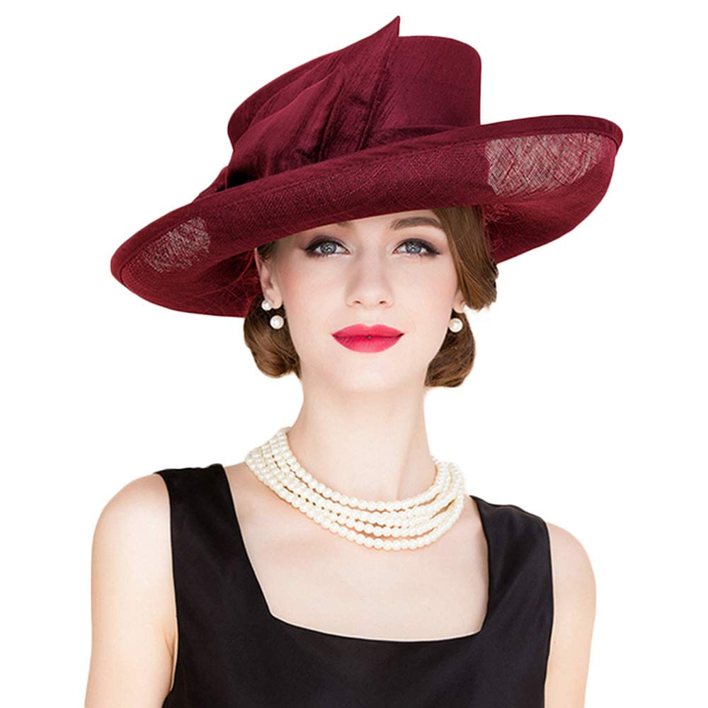 Wedding Bowknot Hat Church Fedora Women Large Wide Sinamay Kentucky Derby Hats (Wine red)