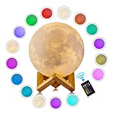 LOGROTATE Moon Lamp with Stand 16 Colors 3D Print Moon Light with Remote & Touch Control and USB Recharge, Moon Light Lamps for Baby Kids Lover Birthday Fathers Day Gifts (5.9 inch)
