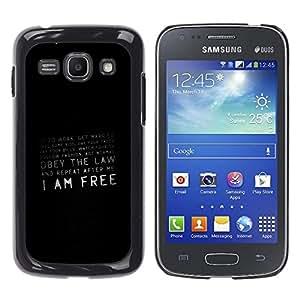 KOKO CASE / Samsung Galaxy Ace 3 GT-S7270 GT-S7275 GT-S7272 / cita de la libertad conspiración prisión sociedad / Delgado Negro Plástico caso cubierta Shell Armor Funda Case Cover
