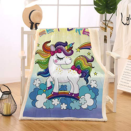 BlessLiving Rainbow Unicorn Blanket Soft Warm Blanket Bed Couch Sofa Kids Girls Lightweight Travelling Camping Throw (Throw, 50 x 60 inches)