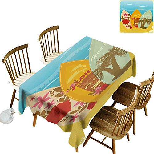 W Machine Sky Stain-Resistant Tablecloth Tiki Bar Decor Hawaiian Beach Surfboards on Sand Exotic Summer Vacation Sport Vintage Style W60 xL120 for Family Dinners,Parties,Everyday -