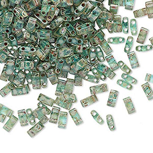 100 Pcs 5 x 2.3mm Picasso Turquoise Blue Half Two Hole Rectangle Glass Beads