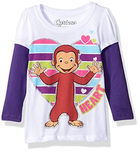 - Curious George Little Girls' Toddler Short Sleeve T-Shirt, White/Grape Violet, 5T