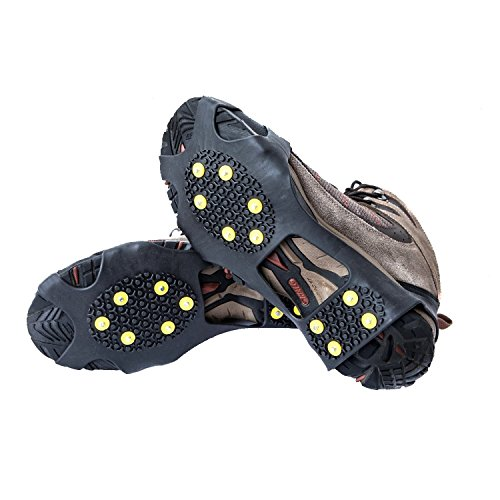 OuterStar Ice & Snow Grips Over Shoe/Boot Traction Cleat Rubber Spikes Anti Slip 10-Stud Crampons Slip-on Stretch Footwear S/M/L/X-L (Small)