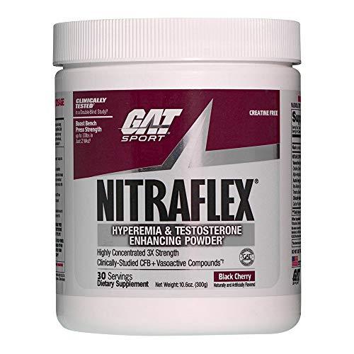GAT Clinically Tested Nitraflex, Testosterone Enhancing Pre Workout, Black Cherry,300 Gram (Hard Cherry Black)