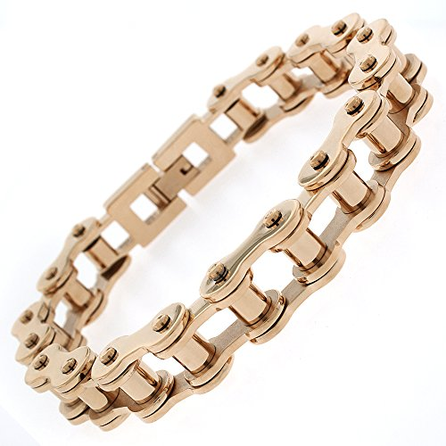 Stainless Steel Mens Rose Gold Plated Bicycle Bike Chain Link Bangle Bracelet 8.5