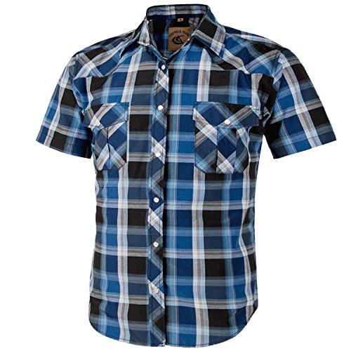 (Coevals Club Men's Short Sleeve Casual Western Plaid Snap Buttons Shirt (M, 4#blue,black) )