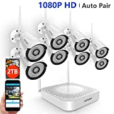 [2019 Update] 1080P Wireless Security Camera System,Safevant 8CH Security Camera System Wireless(2TB Hard Drive),8PCS 1080P Wireless Security Cameras with Night Vision, Auto Pair,No Monthly Fee