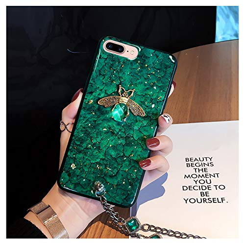 iPhone 8 / iPhone 7 Glitter Bee Case,SelliPhone Luxury Design Glitter Cute Gold Bee Shiny Soft Protective Case with Sparkling Diamond Bracelet Chain for iPhone 8/8s/7/7s, 4.7 Inch,(Green) (Diamonds Sparkling Bracelet)