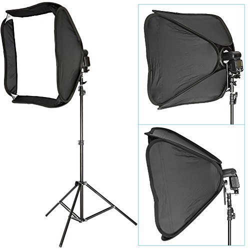 "Neewer Professional Protable Off-Camera Flash Softbox & Stand Kit for Nikon SB900 SB800 SB600, Canon 580EXII 580EX 430EXII 430EX, Neewer TT860, TT850, TT560, Yongnuo, Nissin, Pentax, Olympus and Other Speedlite with Universal Hotshoe, includes: (1) 24""x24""/60x60cm Speedlite Softbox + (1) L-shaped Bracket & Flash Ring + (1) Outer White Cover + (1)9ft / 260cm Photo Studio Light Tripod Stand + (1) Carrying Case"