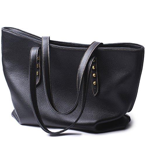 Women Handbags Hobo Shoulder Bags Tote Leather Handbags Fashion Large Capacity Bag (black) by Borgasets