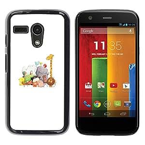 For Motorola Moto G1 / X1032 Case , Animals White Giraffe Zoo Kids - Diseño Patrón Teléfono Caso Cubierta Case Bumper Duro Protección Case Cover Funda
