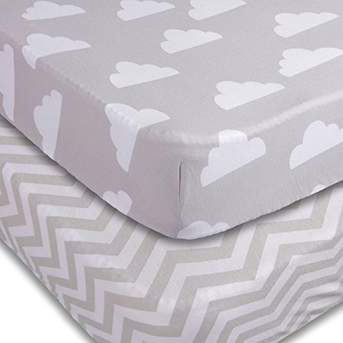 Best Review Of Playard Sheets, 2 Pack Fitted Soft Jersey Cotton Playpen Sheet, Bedding with Unisex C...