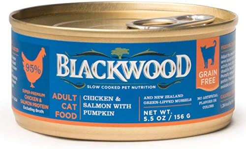 Blackwood Pet Grain Free Wet Cat Food Made in USA Grain Free Canned Cat Food For All Life stages Available in 4 Flavor Varieties, 5.5 oz. can, Pack of 24