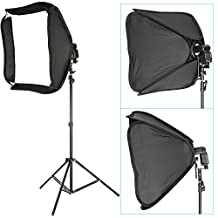 """Neewer® Professional Protable Off-Camera Flash Softbox & Stand Kit for Nikon SB900 SB800 SB600, Canon 580EXII 580EX 430EXII 430EX, Neewer TT860, TT850, TT560, Yongnuo, Nissin, Pentax, Olympus and Other Speedlite with Universal Hotshoe, includes: (1) 24""""x24""""/60x60cm Speedlite Softbox + (1) L-shaped Bracket & Flash Ring + (1) Outer White Cover + (1)9ft / 260cm Photo Studio Light Tripod Stand + (1) Carrying Case"""