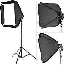 """Neewer Professional Protable Off-Camera Flash Softbox & Stand Kit for Nikon SB900 SB800 SB600, Canon 580EXII 580EX 430EXII 430EX, Neewer TT860, TT850, TT560, Yongnuo, Nissin, Pentax, Olympus and Other Speedlite with Universal Hotshoe, includes: (1) 24""""x24""""/60x60cm Speedlite Softbox + (1) L-shaped Bracket & Flash Ring + (1) Outer White Cover + (1)9ft / 260cm Photo Studio Light Tripod Stand + (1) Carrying Case"""