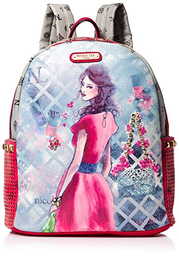 Nicole Lee Daisy Print Backpack, Red, One Size (Laptop Backpack Nicole Lee)