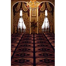 A.Monamour Palace Indoor Room Wall Mural Decoration Arched Window Drapery Curtain Hall Carpet Floor Chandelier Light Studio Props Photography Backdrops