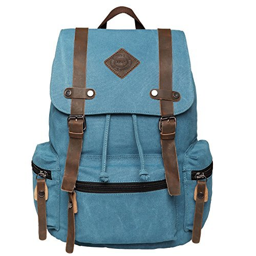 Toupons Unisex Canvas Vintage Backpack Rucksack High School Backpacks  College Backpacks (Blue) 0700329599996