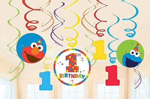 Sesame Street 1st Birthday 'Elmo Turns One' Hanging Swirl Decorations (12pc) ()