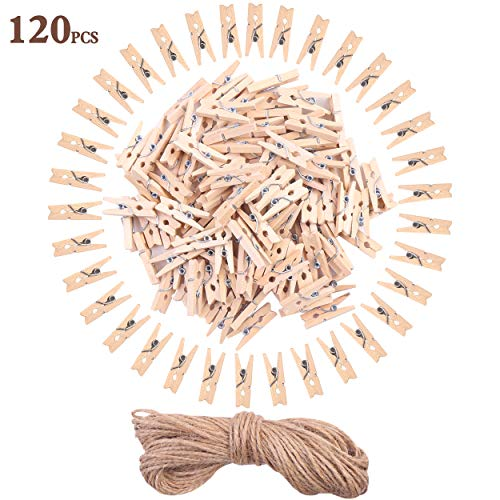 DIYASY 120 Pcs Mini Wood Clothespins,1 Inch Mini Craft Clips with Jute Twine for Photo Hanging and DIY Craft.