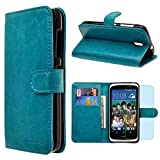 HTC Desire 526 Case, INNOVAA Premium Leather Wallet Case with STAND Flip Cover W/ Free Screen Protector & Touch Screen Stylus Pen - Teal