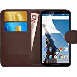 GizzmoHeaven Motorola Google Nexus 6 Leather Case Flip Wallet Cover for Motorola Google Nexus 6 with Screen Protector and Stylus Pen - Brown