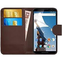GizzmoHeaven Motorola Google Nexus 6 Leather Case Flip Wallet Cover for Motorola Google Nexus 6 with Screen Protector and Stylus Pen - Brown