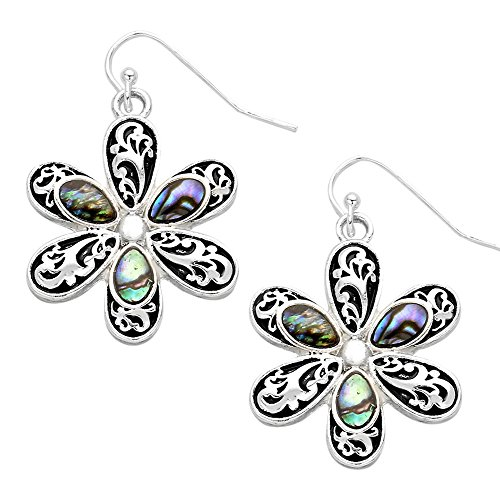 - Liavy's Daisy Flower Fashionable Earrings - Wavy Filigree - Fish Hook - Abalone Paua Shell - Unique Gift and Souvenir