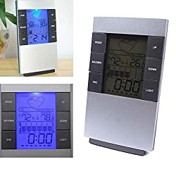 Digital Weather Forecast Alarm Clock Indoor Humidity Monitor LCD Display Desktop Thermometer Temperature Clocks with Date Calendar Station Backlight (Size 1)