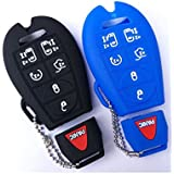 2Pcs New Black and Blue Silicone Rubber Fob 7 Buttons Smart Key Fob Cover Bag Case Holder Protector for Dodge Caravan Challenger Charger Durango Journey Magnum Ram 1500/2500/3500/4500 Chrysler Jeep