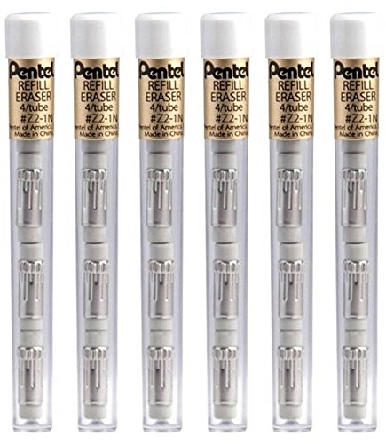 (Pentel Z21bp-K6 White Pencil Eraser Refills (Pack of 6))
