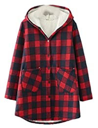 Domple Women's Winter Hooded Plaid Fleece Parka Padded Down Jacket Coat