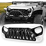 Allinoneparts White & Black Front Shark Grille for Jeep Wrangler Rubicon Sahara Sport JK JKU 2007-2018, ABS