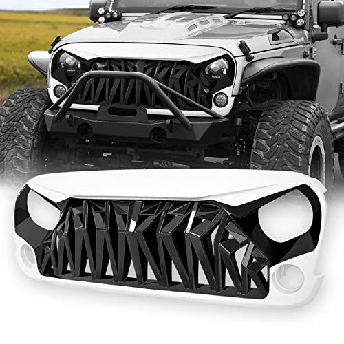 (Allinoneparts White & Black Front Shark Grille for Jeep Wrangler Rubicon Sahara Sport JK JKU 2007-2018, ABS)