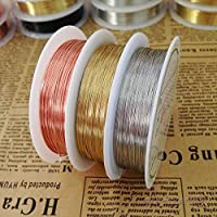 JJSFJH Copper Plated Wire Beading DIY Jewelry Bracelet Earring Making Accessories Craft (Color : Gold;1.0MM)