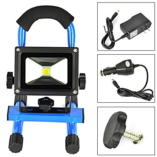 EverBright 20W 3200LM Blue Body Portable Ultra Bright Cordless Rechargeable Led Flood Spot Work Light Lamp Water Resistant Waterproof Work Light, Flood light, LED Work Lamp With AC Charge & Car Charge by EverBright